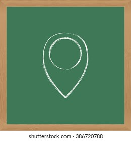 Flat vector icon. Chalk on a blackboard. Sign locations.