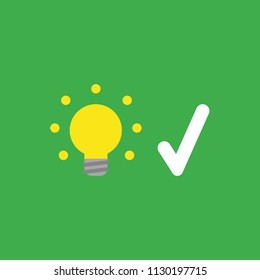Flat vector icon concept of glowing yellow light bulb with check mark on green background.