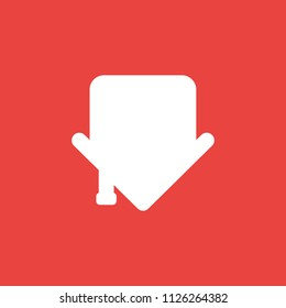 Flat vector icon concept of house arrow showing down on red background.