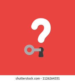 Flat vector icon concept of key unlock question mark with keyhole on red background.