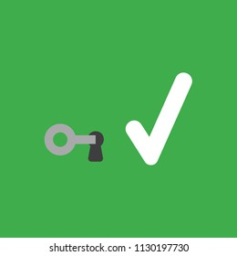 Flat vector icon concept of key into keylock and check mark on green background.