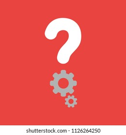 Flat vector icon concept of question mark with gears on red background.
