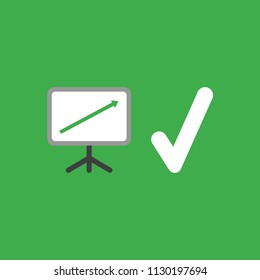 Flat vector icon concept of sales chart with arrow moving up and check mark on green background.