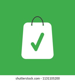 Flat vector icon concept of shopping bag with check mark on green background.