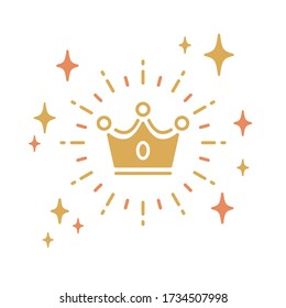Flat vector icon with crown motif