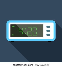 Flat vector icon of digital alarm clock. 4:20. Colorful illustration