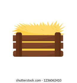 Flat vector icon of empty chicken nest. Yellow hay in brown wooden box, colorful vector design
