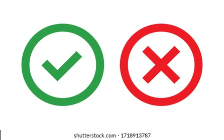 Flat vector icon. Green check mark and red cross outline icons.