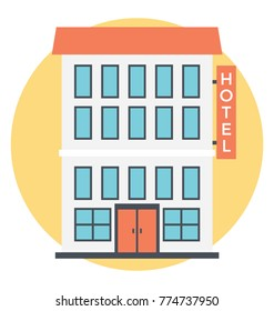 Flat vector icon of a hotel building