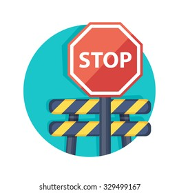 flat Vector icon - illustration of barrier with stop sign isolated on white