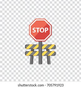 flat Vector icon - illustration of barrier with stop sign