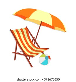 flat Vector icon - illustration of beach icon isolated on white