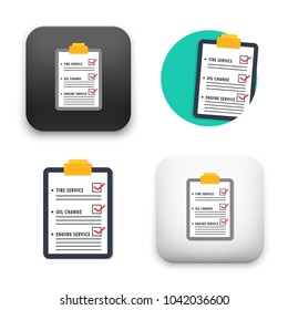 flat Vector icon - illustration of car maintenance list icon