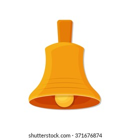 flat Vector icon - illustration of christmas golden bell icon isolated on white