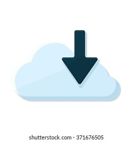 flat Vector icon - illustration of download cloud icon isolated on white