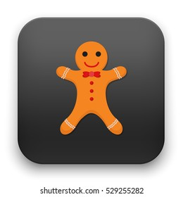 flat Vector icon - illustration of Gingerbread man icon