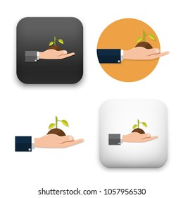 flat Vector icon - illustration of Hands holding seedling icon