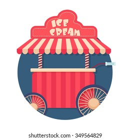 flat Vector icon - illustration of ice cream cart icon isolated on white
