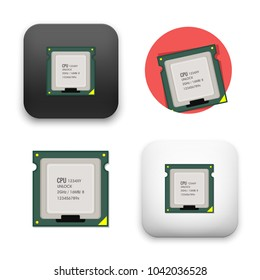 flat Vector icon - illustration of microchip icon