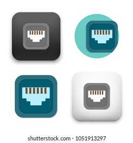 flat Vector icon - illustration of Network socket icon