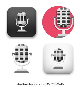 flat Vector icon - illustration of Old microphone icon