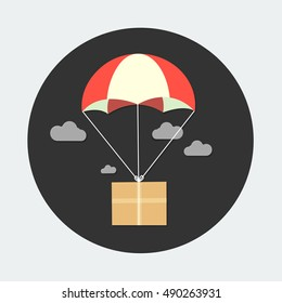 flat Vector icon - illustration package flying down from sky with parachute, delivery service concept