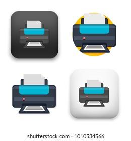 flat Vector icon - illustration of printer icon