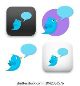 flat Vector icon - illustration of Talking Blue Bird icon
