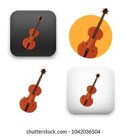 flat Vector icon - illustration of violin icon
