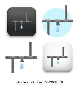 flat Vector icon - illustration of water pipe icon