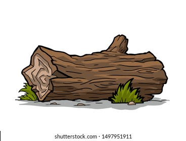 Flat vector icon of long round wooden log. Part of tree trunk. Forest element. Firewood production