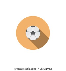 Flat vector icon with long shadow effect in stylish colors of web design objects, business, office. Soccer. Football.