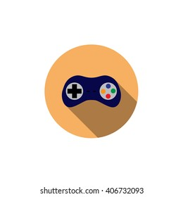 Flat vector icon with long shadow effect in stylish colors of web design objects, business, office. Joystick.