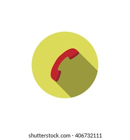 Flat vector icon with long shadow effect in stylish colors of web design objects, business, office. Phone. Handset.