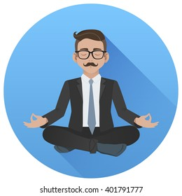 Flat vector icon of man doing office yoga. Calm and relax in the middle of a work day. Businessman meditating in lotus pose.