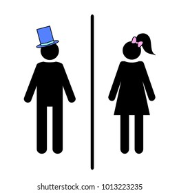 Flat vector: icon of a man and a woman on a white background. Isolated toilet sign. Black figures. A simple geometric contour. A gentleman in a blue hat, a lady with a pink bow and a tail on her head.