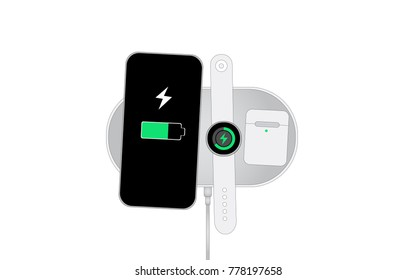 Flat vector icon Mockup of Modern Technology device on Big Wireless Charging Station to charge many device in one time ,Smart Phone ,Smart Watch ,Wireless Earphone Case ,Station with Charging Cable.