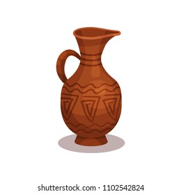 Flat vector icon of old clay jug with traditional ornament. Ancient ceramic amphora with handle and narrow neck