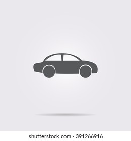 Flat vector icon. On a gray background with shadow. A car.