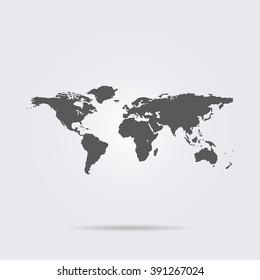 Flat vector icon. On a gray background with shadow. World map.