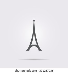 Flat vector icon. On a gray background with shadow. Eiffel Tower.