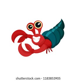 Flat vector icon of red hermit crab with shell. Smiling marine animal with big claws and shiny eyes. Sea life theme