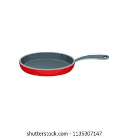 Flat vector icon of red metal frying pan with gray handle. Stainless container used for cooking food. Kitchenware theme