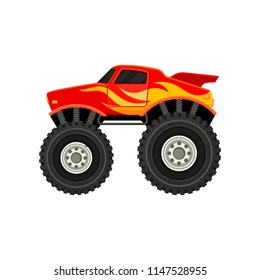 Flat vector icon of red monster truck with yellow-orange flame decal. Car with large tires, spoiler and black tinted windows