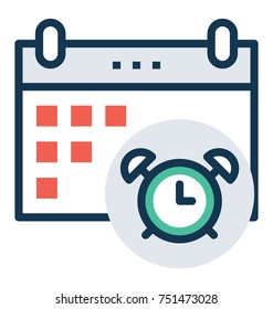 Flat vector icon of reminder, timekeeping concept