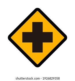 Flat vector icon of road sign Cross Intersection