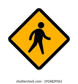 Flat vector icon of road sign Crossing Ahead