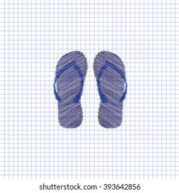 Flat vector icon. Scribble blue pen on a sheet of school notebook. Flip flops.