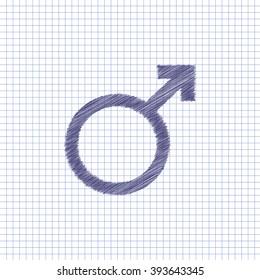 Flat vector icon. Scribble blue pen on a sheet of school notebook. Mars.