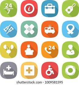 flat vector icon set - 24 7 vector, info, doctor bag, medical label, crutch, patch, ambulance car, harness, kidneys, hospital recieption, phone, support manager, first aid, invalid, lifebuoy